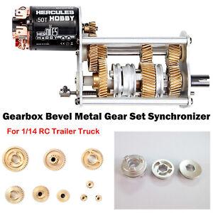 Coche-RC-Metal-Gear-Set-Sincronizador-De-Metal-Para-1-14-Tamiya-Scania-de-camion-con-acoplado