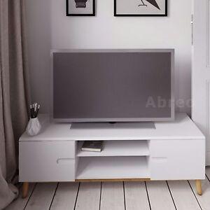 Modern White TV Unit Cabinet Stand Entertainment Shelves