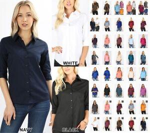 Women's Classic Cotton Stretch 3/4 Sleeve Button Down Blouse Dress Shirt S-3X