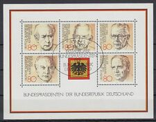 Germany Bund BRD 1982 Θ BONN Bl.18 Bundespräsidenten Presidents Heuss Scheel