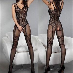 Sexy-Fischnetz-Sheer-geoeffnete-Gabelung-Body-Stocking-Bodysuit-Waesche-Kleid-N3X5