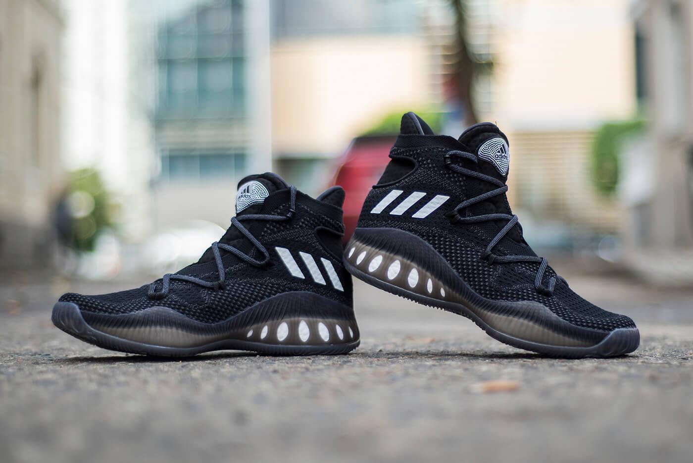 Adidas pazzo esplosivo 1,0 primeknit pk 1,0 esplosivo sz 9.bianchi e neri.b42404.ultra impulso 63fff4