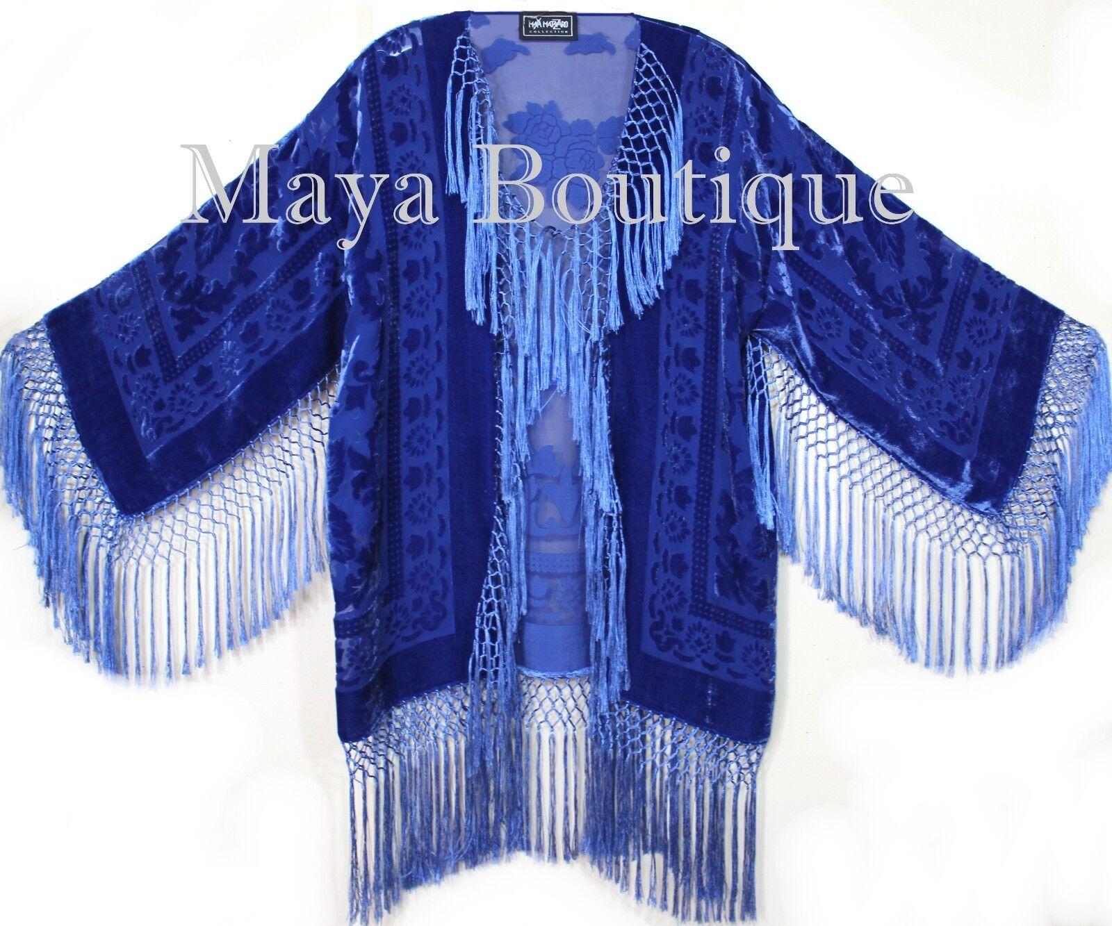 Ropa Maya  Azul Real Chaqueta De Flecos Kimono de seda y terciopelo Tinte De Mano Corta  Mejor precio