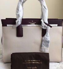NWT KATE SPADE Cameron Street Candace Handbag Crisplinen/Liliacpetal/Mahogany