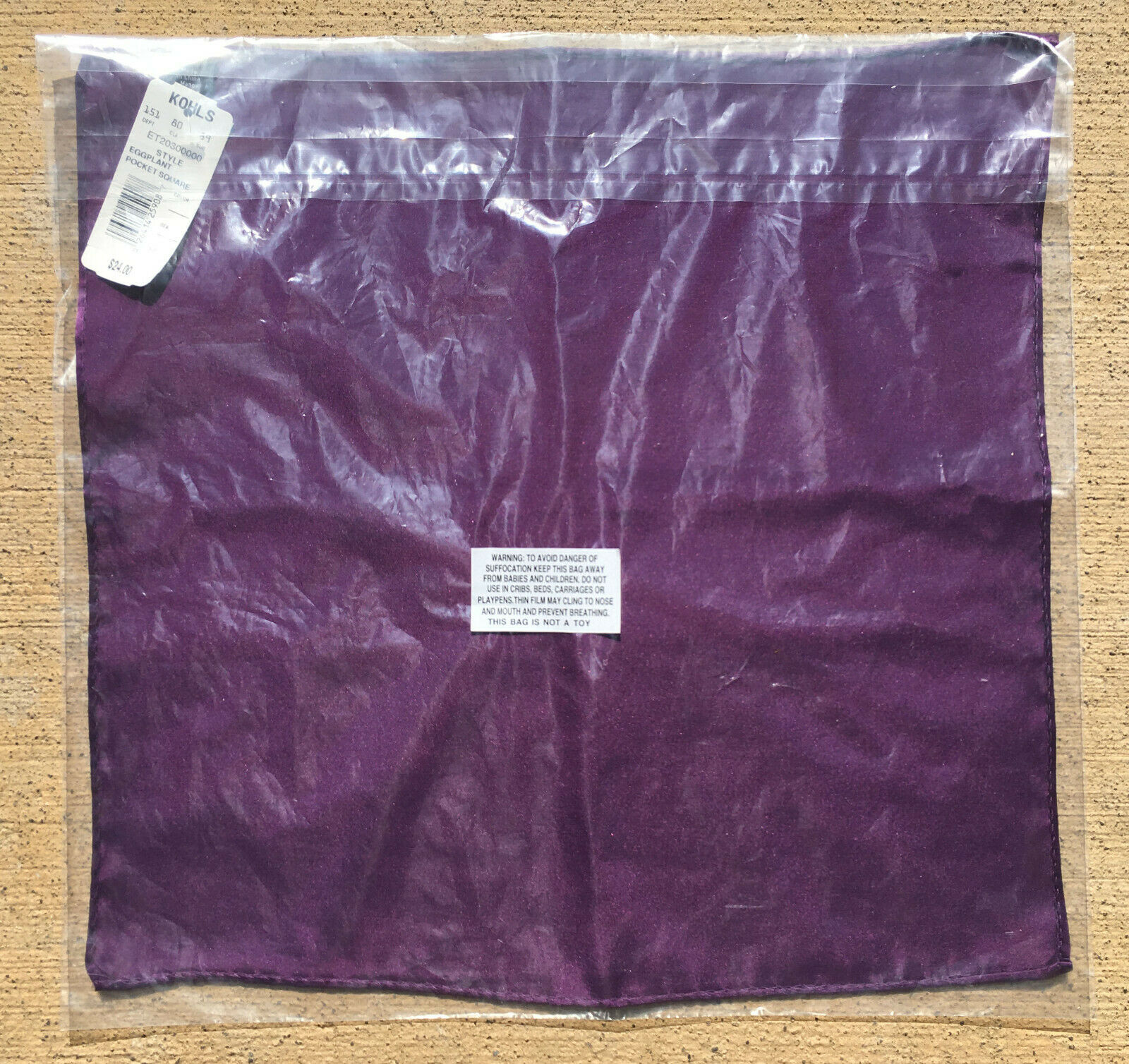 100% Silk Pocket Square - Brand New - Purple
