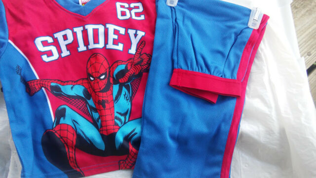 Disney Spider Man Boys/' Fleece Pajama Shirt /& Pants Set Size 10 Blue