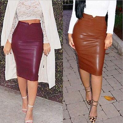 Women Vintage High Waist Faux Leather Midi Calf Bodycon Pencil Straight Skirt
