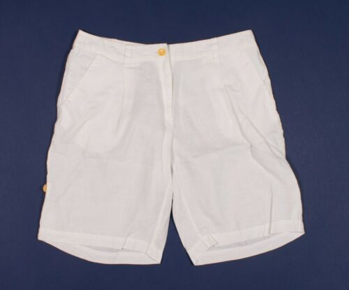 Eileen Fisher White Organic Linen Bermuda Shorts S