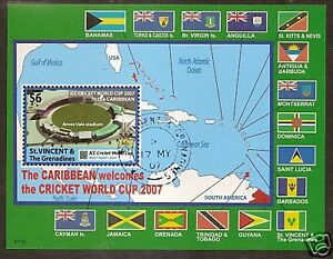 ST-VINCENT-2007-CRICKET-WORLD-CUP-FLAGS-MAP-Souvenir-Sheet-FINE-USED
