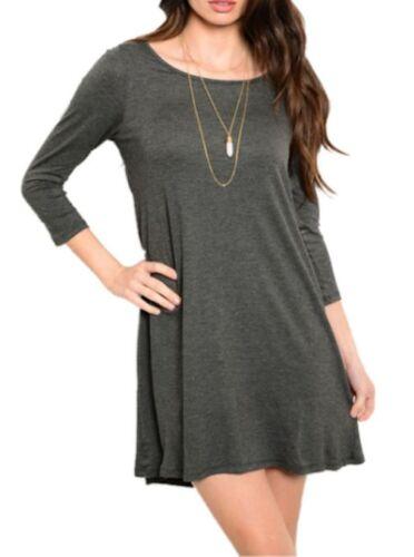 Women Basic 3//4 Sleeve Tunic Round Neck Top Draped Dress Tee Shirt Plus Size USA