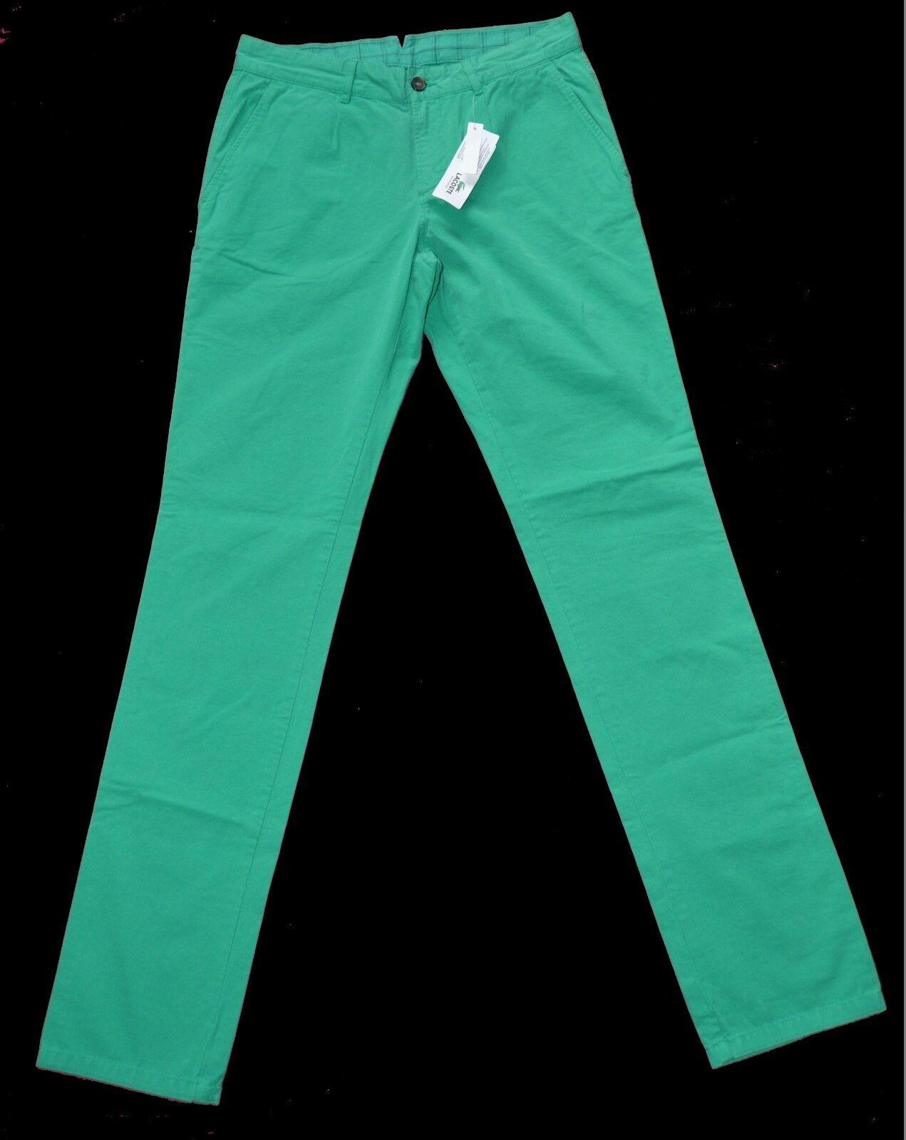 BNWT Lacoste Cotone Pantaloni casual w32 l34 l34 l34 verde GARANTITO ORIGINALE c91324