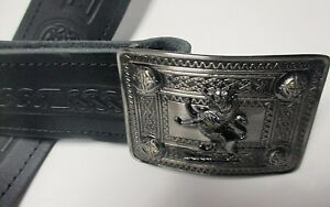 NEW Celtic Embossed Black Leather Kilt Belt & Rampant Lion Buckle Scottish Men's