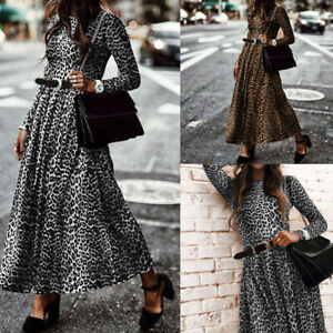 Elegant-Femme-Robe-Manche-Longue-Imprime-leopard-Taille-ajustee-Dresse-Maxi-Plus