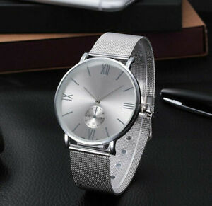 Uhr-Armbanduhr-Analog-Modisch-Rund-Watch-Damen-Quartz-Damenuhr-Silber