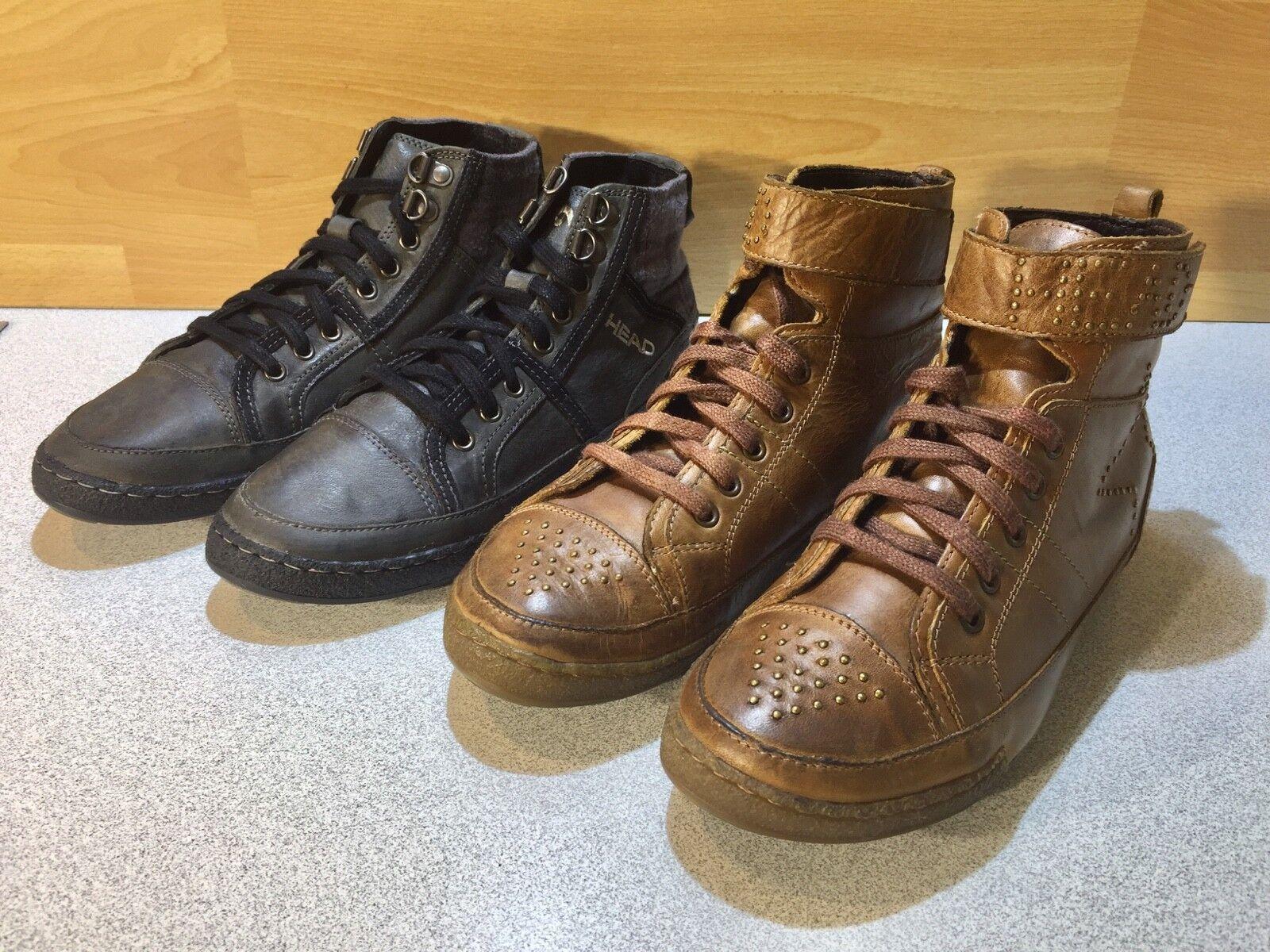 2x Head Sneakers, Nappaleder, cognac + grau, grau, grau, Gr: 37, Neu, #SCH-67 06be59