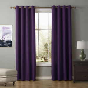 A-pair-Solid-Window-block-Blinds-Blockout-curtain-eyelet-top-violet-160-220-240