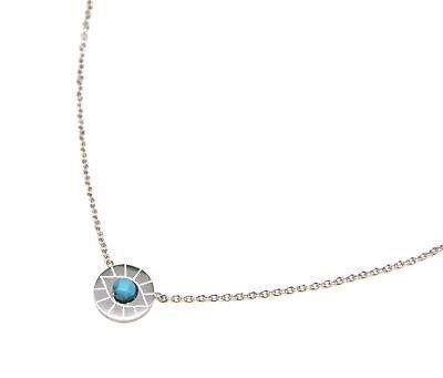 CC2335F Collier Fine Chaîne avec Pendentif Médaille Gravée Oeil Acier Argenté
