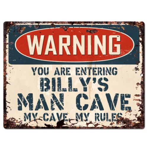 PP2797 WARNING ENTERING BILLY/'S MAN CAVE Chic Sign Home Decor Funny Gift