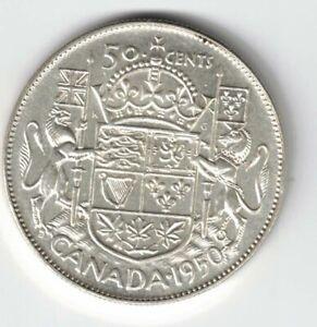 CANADA-1950-FULL-DESIGN-50-CENTS-HALF-DOLLAR-GEORGE-VI-800-SILVER-COIN-CANADIAN