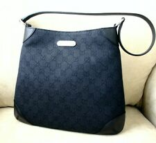 NEW Authentic GUCCI GG fabric Hobo Shoulder BAG HANDBAG Black Denim 196140 1160