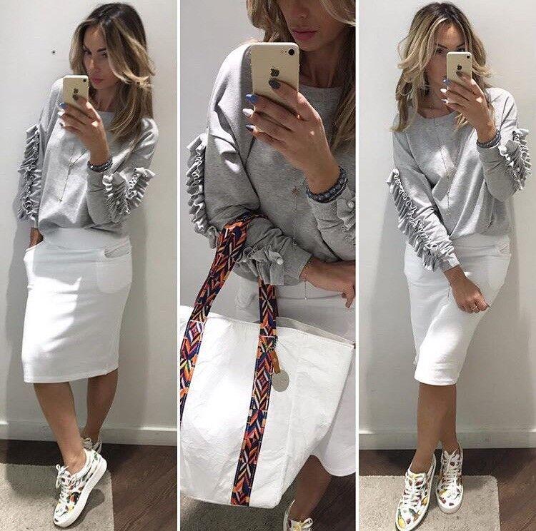 BY O LA LA grey sweatshirt PEARLS frills ❤ Size Regular ❤️ tag ‼️