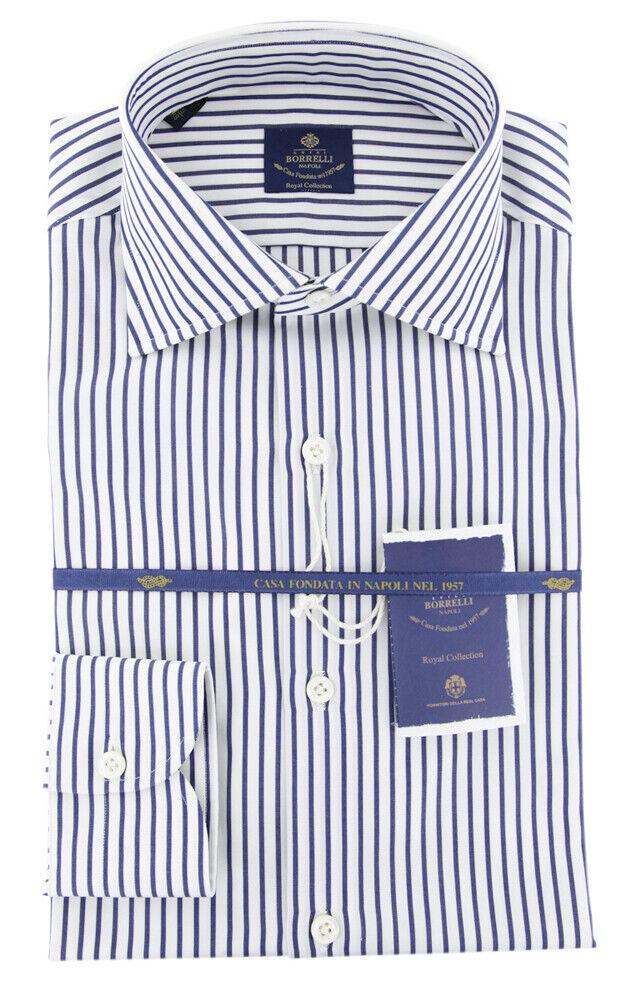 New  600 Borrelli Navy Blau Striped hemd - Extra Slim - (2018032017)