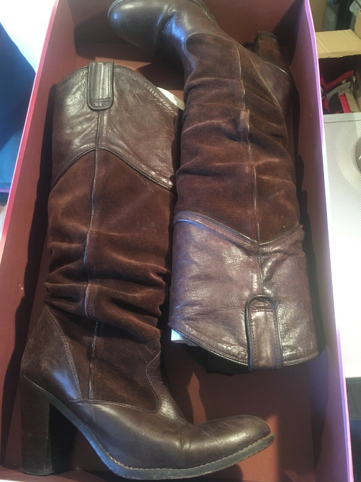 Jigsaw Suede & Leather Brown Boots - Size 38 - Long Length Boot