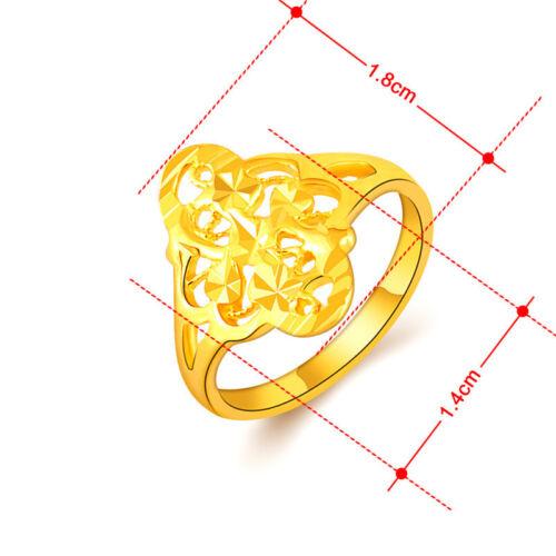 Accessoires de Mode 24K Plaqué Or Fleur Femme Bijoux Bague De Mariage GR095