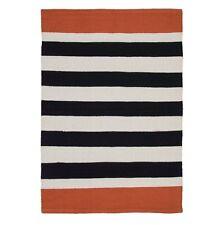 80% Cotone Moderno Retrò trama grossa a Righe Nero Bianco Arancione RUG NUOVO 90cm x 60cm