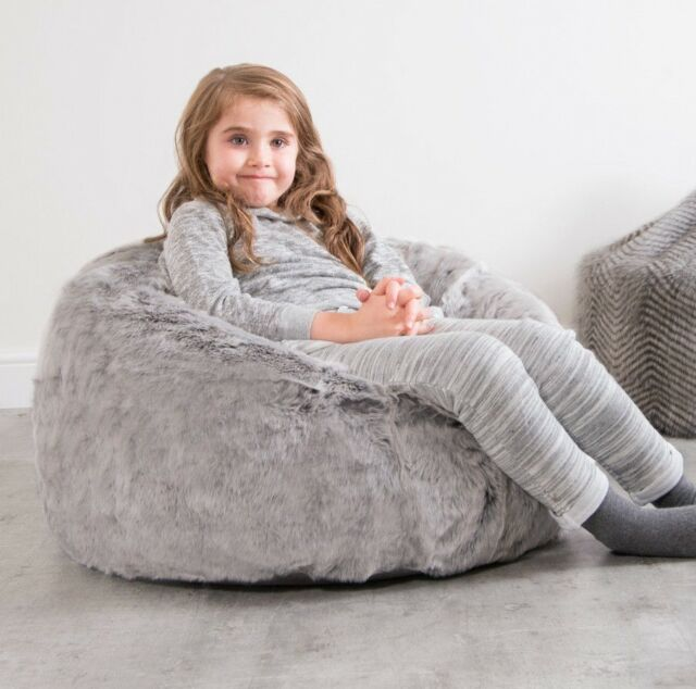 Large Children s Bean Bag Chair Luxury Faux Fur Kids Beanbag Arctic Wolf  Grey 0d40bfa2efb5c
