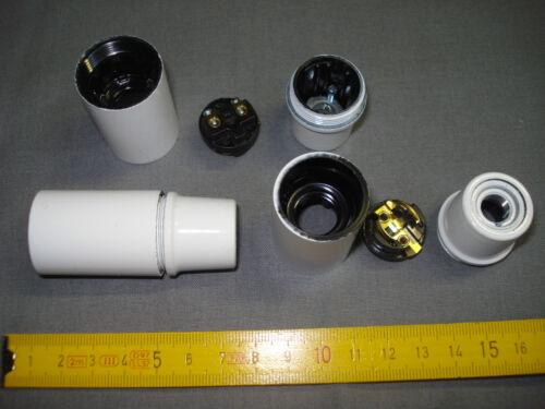 réf C 1 douille E 14 BLANCHE chemise lisse raccord métal pas 10 mm par 1 mm