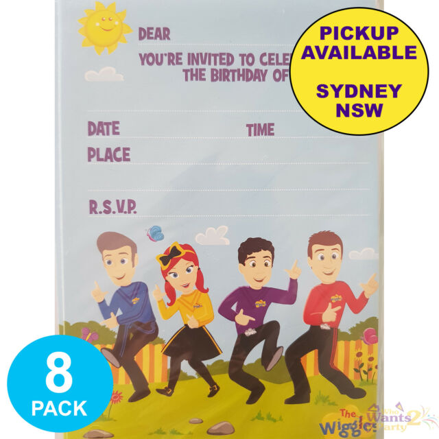 THE WIGGLES PARTY SUPPLIES 8 BIRTHDAY INVITATIONS INVITES