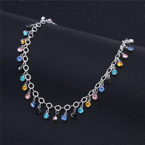 925 Silver Multi Color Crystal Tassel Ankle Chain Anklet Bracelet Barefoot Sanda
