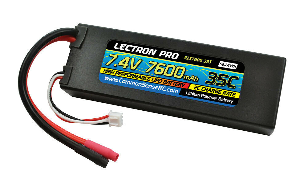 RC Lectron Pro 7.4V 7600mAh 35C Lipo Battery with Bare Leads CMS2S7600-35T