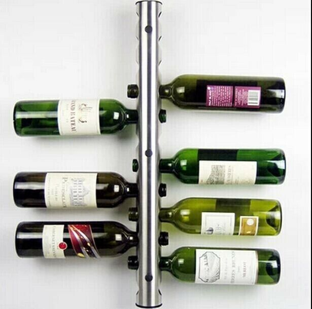Wine Bar Rack Metal Wall Mounted 12 Bottle Holder Chrome Holding