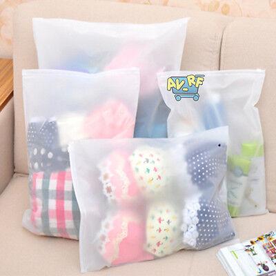 3pcs Waterproof Translucent Zip Storage Bag Clothes Underwear Socks Organizer
