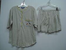 Nancy King Lingerie 2 Piece Pajama Shorts & Top Set Size XL Grey w/ Yellow #547N