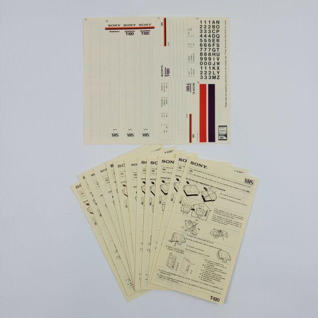 Sony T-120 Premium Grade Blank Media VHS Video Tape Blank Label Stickers Lot 13