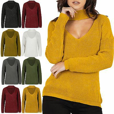 2019 Neuestes Design Womens Lurex Chunky Knitted Keyhole Cut Choker Neck Oversized Baggy Jumper Top