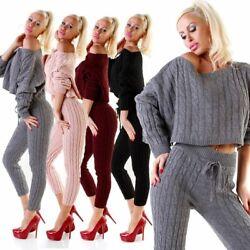11062 Trendy Damen Hosenanzug Strickanzug Zopfmuster Bauchfrei-Pullover Leggings