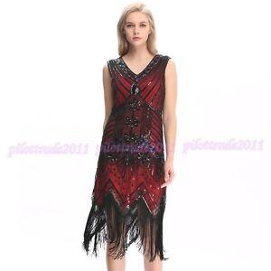 b7362e772202b Details about 1920s Flapper Dress Costume Gatsby Charleston Sequin Beads  Fringe 20s Dress NEW