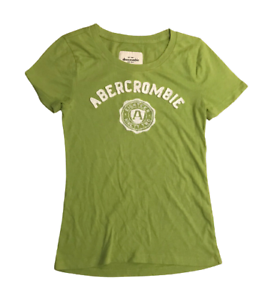 Abercrombie-amp-Fitch-Women-039-s-T-Shirt-Green-Short-Sleeve-Large-Cotton-Blend