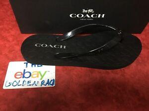 9c787b90cd02 NIB Coach New York Womens Abbigail Rubber Flip Flops Black SZ 6-10 ...