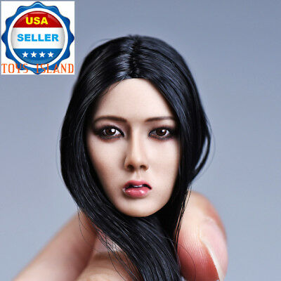 "1//6 Asian Female Head Sculpt Black Hair For 12/"" TBLeague Phicen Figure ❶USA❶"
