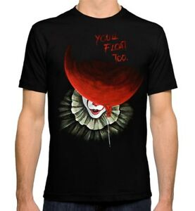 Pennywise-Art-T-Shirt-Stephen-King-039-s-039-IT-039-Men-039-s-Women-039-s-Tee-All-Sizes