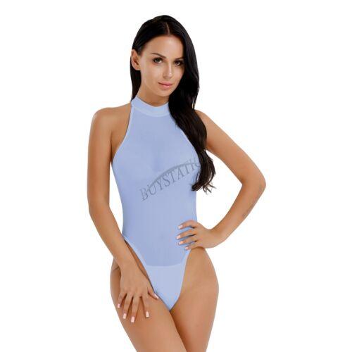 Womens Lingerie One Piece High Cut Mock Neck See-through Thong Leotard Bodysuit