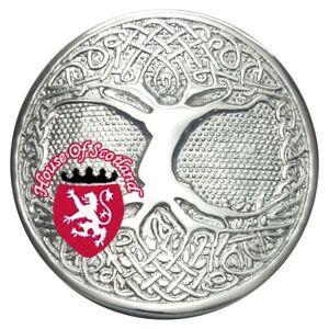 AgréAble Hs Scottish Arbre De Vie Kilt Boucle De Ceinture Ronde Chrome Highland Celtique Boucles-afficher Le Titre D'origine