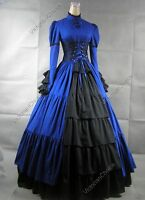 Victorian Gothic Period Corset Prom Dress Gown Steampunk Theater Clothing 068