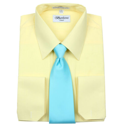 Men/'s Berlioni Business French Cuff Tie Set Lemon Dress Shirt And Aqua Tie