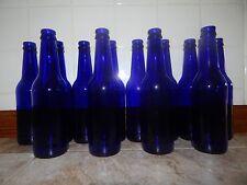 Lot of 12 COBALT BLUE GLASS Beer Bottles For Crafts Vases Tree Ornaments Decor